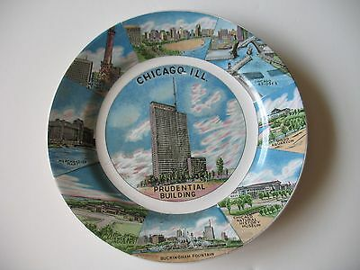 Chicago Ceramic Souvenir Plate Prudential Building 9 inch Vintage Collectible