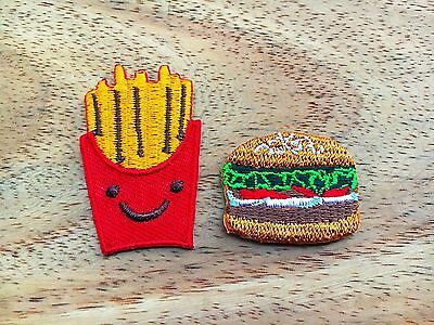 New Set of 2 pcs Cute French Fries & Hamburger Iron On Patch Embroidered