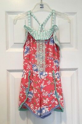 Girls Matilda Jane Happy & Free Tropical Butterfly Romper 4 SOLD OUT HTF