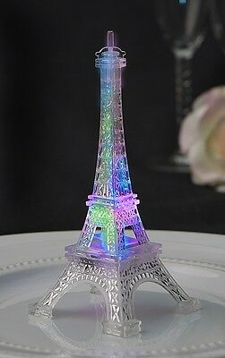 "Eiffel Tower Replica- 5"" - Plastic - LED Light Flashes Colored Lights when ""On"""