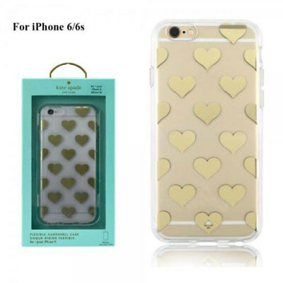 cheap for discount aa36f 64c7e NEW KATE SPADE Flexible Hardshell Case For iPhone 6 / 6S - Clear Gold Hearts