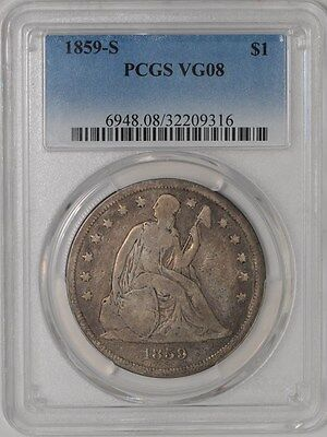1859-S Seated Liberty Dollar $ VG08 PCGS