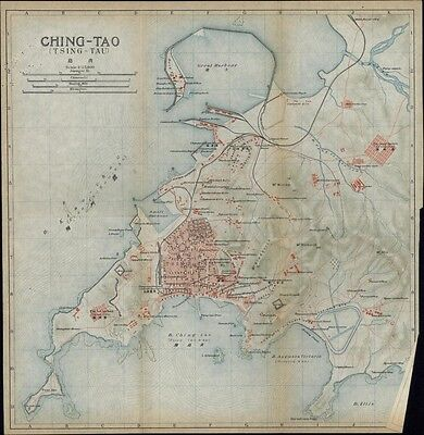 Ching-Tao Tsing-Tau China city plan 1915 scarce detailed color folding map