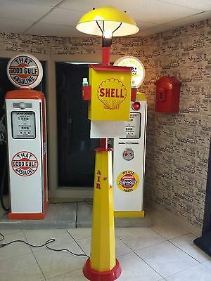Classic 1930S 1940S 1950S Shell Oil Gas Pump Station Island Light And Towel Box