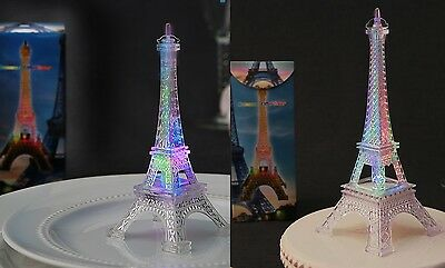 "Eiffel Tower Replica- SET of 2; 10"" high & 5"" high; Flashes w/changing colors"