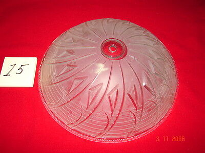 Art Deco Depression Era Ceiling Shade # 15  Frosted Clear Deco Center Hole Mount