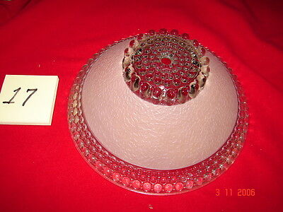 Art Deco Depression Era Ceiling Shade # 17 - Pink Clear Deco Center Hole Mount