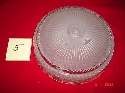 Art Deco Depression Era Ceiling Shade # 5 - Frosted Clear Flowers - 3 Hole Mount