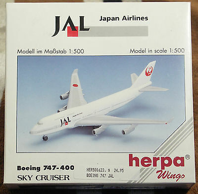 Model – Herpa 1:500 - Ref.No. HER500623 Boeing 747-400 Japan Airlines
