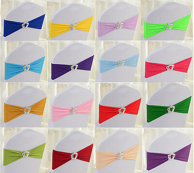 1/50pcs Lycra Spandex Stretch Wedding Event Chair Cover Band Sashes Crown Buckle