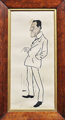 SIR DAVID LOW (1891-1963) Original Ink Drawing Gentleman Published Bulletin 1917