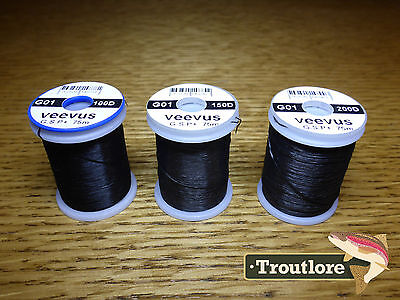 3 x SPOOLS VEEVUS GSP THREAD BLACK - NEW FLY TYING SUPPLIES & MATERIALS