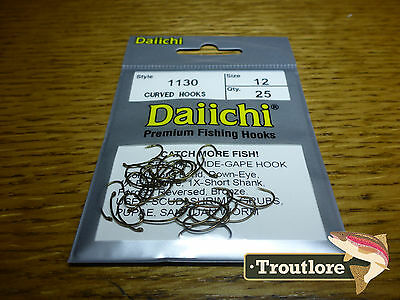 25 x DAIICHI 1130 #12 SCUD & EMERGER HOOKS WIDE GAPE LIGHT WIRE NEW FLY TYING