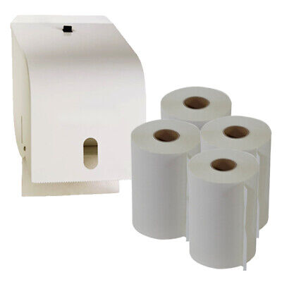 White Enamel Metal Paper Roll Towel Dispenser plus 4 Roll Towels Starter Pack