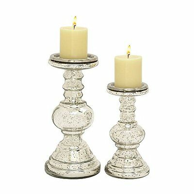 Benzara Enticing Set of Two Glass Candle Holder 24650 New