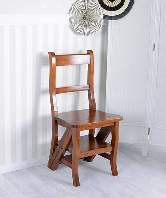 Mahogany Chair Stepchair Vintage Ladder Colonial Style
