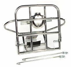 Vespa Rally 200 Rear Fold Down Luggage Rack & Spare Wheel Carrier in Chrome