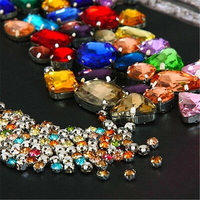 Mixed Size Sew On Glow Rhinestones Mixed Color Mixed Shape Glass Crystal 130pcs
