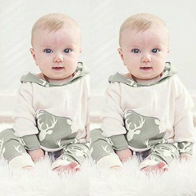 Newborn Infant Baby Boy Girls Outfits Clothes Hooded T-shirt Tops+Pants 2PCS Set