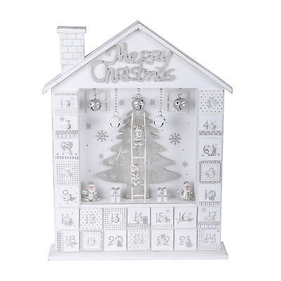 White Silver Wooden House Traditional Advent Calendar Room Christmas Decoration