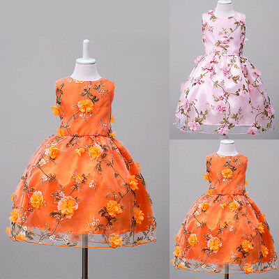 Flower Floral Girls Princess Dress Kids Birthday Party Wedding Pageant Prom Gown