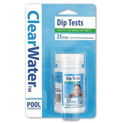 ClearWater Swimming Pools Spa Water Chlorine pH Alkalinity Dip Test Strips x 25