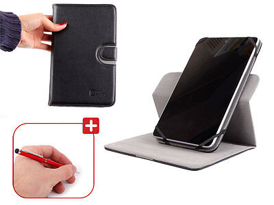 "Kit For 7"" Tablets - Black PU Leather Stand Cover With 2 Way Silver Stylus & Pen"