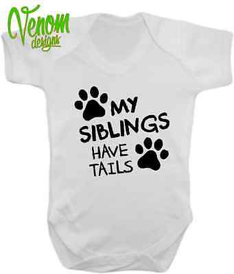 Tails Baby Vest Body Suit Babygrow Boy Girl Clothes Funny Gift Dog Cat Leds Fun