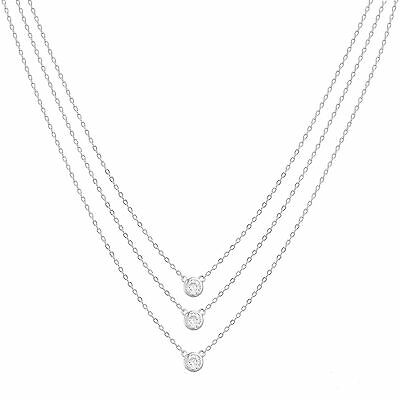 18K White Gold Sterling Silver CZ Pendant Triple Layered Cable Chain Necklace