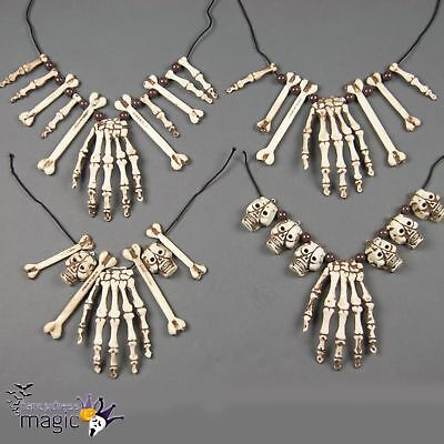 Skull Skeleton Hand Bone Necklace Halloween Caveman Pirate Fancy Dress Accessory