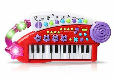 Vinsani Red Piano Carry Along Keyboard Children Kids Musical Instrument Play Set