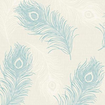 Viola Peacock Feather Blown Vinyl Wallpaper - Teal Cream - 40914 Debona