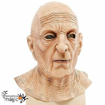 Mens Old Man Wrinkled Full Overhead Latex Fancy Dress Costume Head And Neck Mask