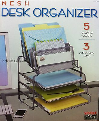 Seville Classics Mesh Desk Organiser With 3 Trays & 5 Tiered File/Letter Holder