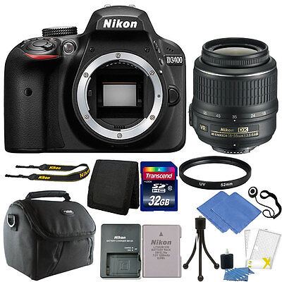 Nikon D3400 24MP Digital SLR Camera with 18-55mm VR Lens + 32GB Great Value Kit!