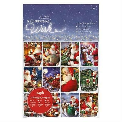 """24 SHEET 4"""" x 6"""" FULL PACK A CHRISTMAS WISH CARD MAKING CRAFT BACKING PAPER"""