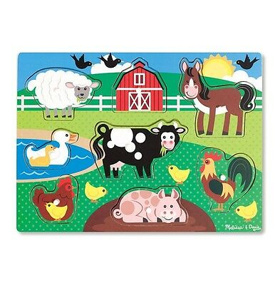 Melissa and Doug Farm Peg Puzzle -  Wooden Puzzle  - Brand New