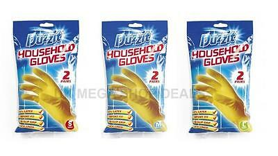 Duzzit Pack of 2 Pairs Latex Gloves Household Cleaning Washing Up Rubber S M L