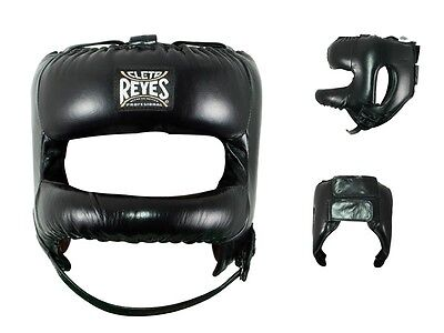 Cleto Reyes Redesigned Leather Headgear with Nylon Face Bar (Black)