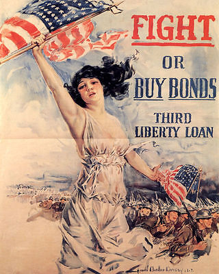 fight or buy bonds vintage WW1 ad poster 24X36 AMERICAN FLAG PATRIOTIC