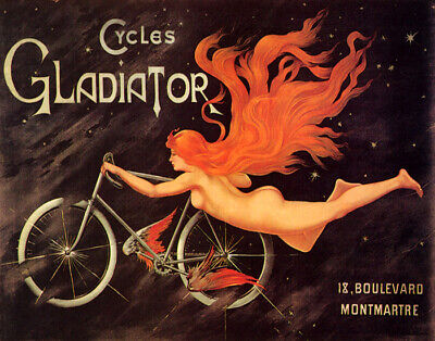 Poster Cycles Gladiator Bicycle With Wings Woman Flying Vintage Repro Free S/H