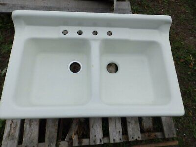Vtg Cast Iron White Porcelain Double Basin Kitchen Sink Old Plumbing 1664-16