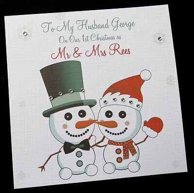 Our First Christmas as Husband and Wife Card 1st Christmas Snowman