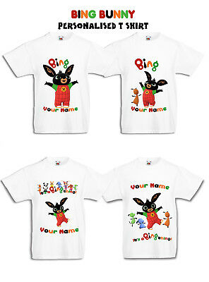 Bing Bunny Personalised T Shirt 4 designs Flop all sizes any name Kids & Adults