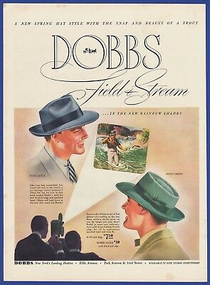 Vintage 1940 DOBBS Field & Stream Hat Mens Fashion Hats 1940's Art Deco Print Ad