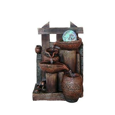 'Jugs on a Post' Tranquil Indoor Water Fountain Feature with Light & Glass Ball