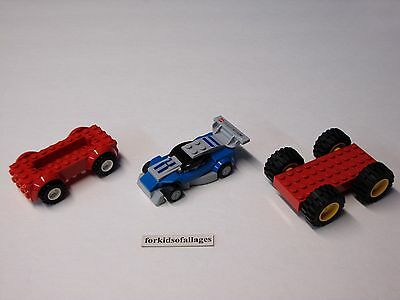 3 Lego Car Bases With Wheels/Tires Lot #10 - Build Your Own Vehicles