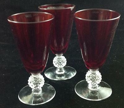 Morgantown GOLF BALL RUBY 3 Juice Glasses GREAT CONDITION