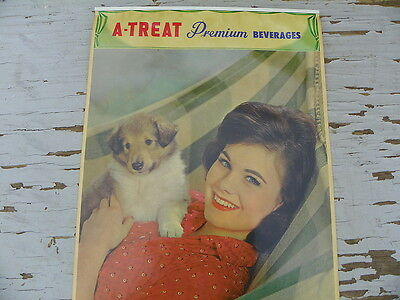 A-Treat Beverage  Soda Calendar Cute Lady W/ Dog