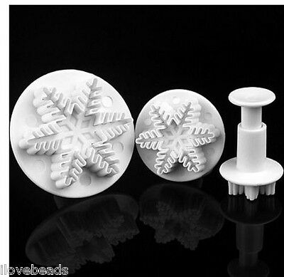LOVE Snowflake Cake Fondant Pastry Cutter Plunger Mold Tools Decorating Craft